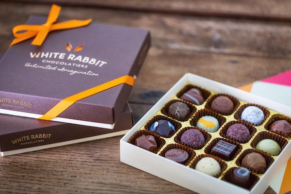 Assortiment de chocolats par White Rabbit chocolatier©