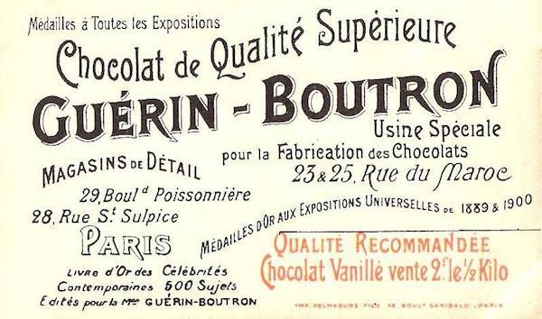 Carte de publicité pour le Chocolat Guérin-Boutron©