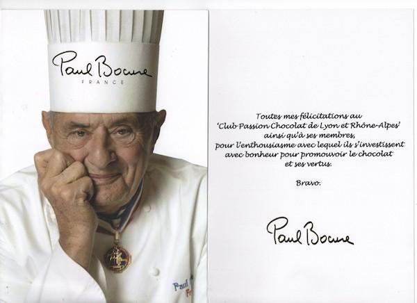 Paul Bocuse sur le Club Passion Chocolat Lyon et Rhône Alpes©