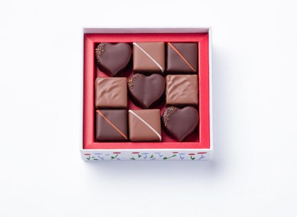Au Coeur des Jardins Coffret de 9 chocolats ouvert©