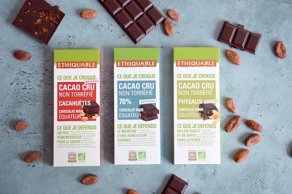 Gamme de talettes Cacao Cru Ethiquable©