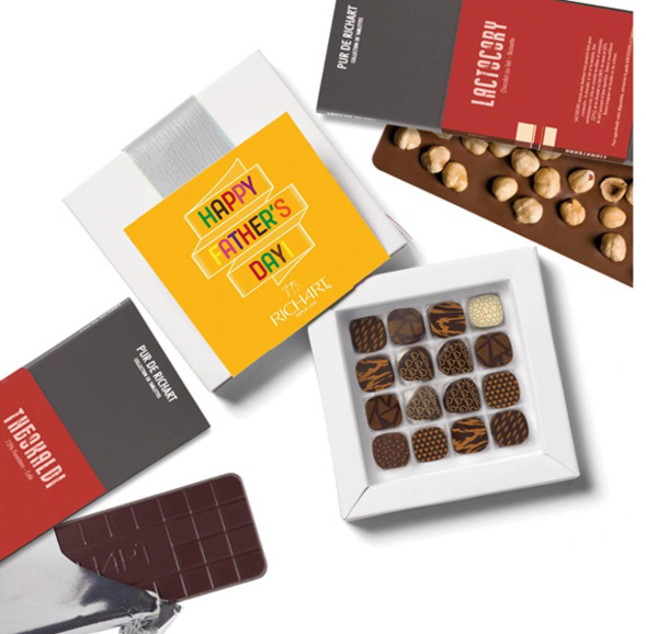 Papa parfait Boîte de 16 chocolats fourrés 2 tablettes de chocolat