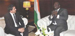 Rencontre de Patrick Poirrier, PDG du groupe CEMOI et de M Jeannot Ahoussou-KOUADIO, premier ministre Ivoirien