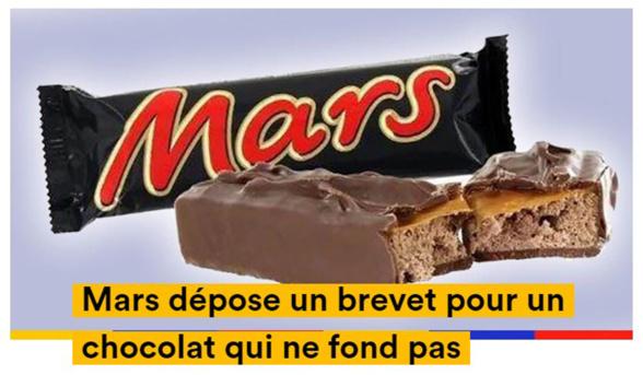 Mars depose un brevet pour un chocolat qui ne fond pas
