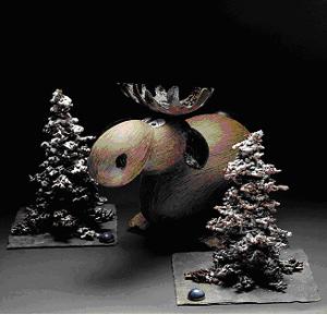 Pour ses vitrines de Noël, le chocolatier Patrick Roger revisite le sapin et crée des élans tout en chocolat !