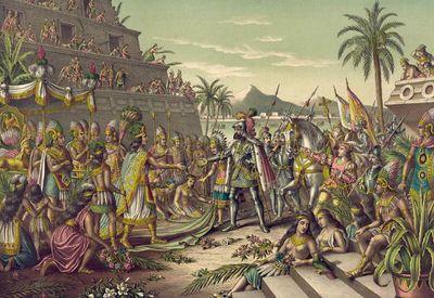 Peinture représentant la rencontre de Cortès et Moctezuma au Mexique
