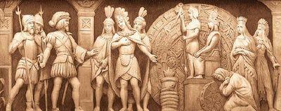 Sculpture temple mexicain - Cortès et Moctezuma