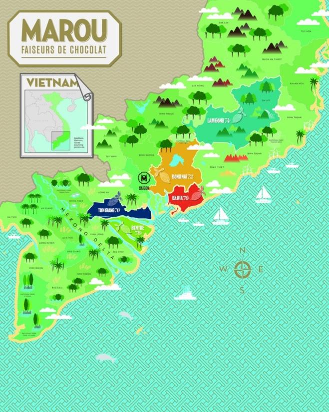 Carte du sud du Vietnam, avec les plantations de cacaoyers