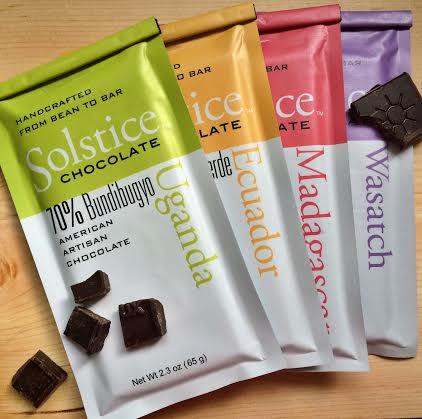 La gamme de tablettes de chocolat de Solstice Chocolate©