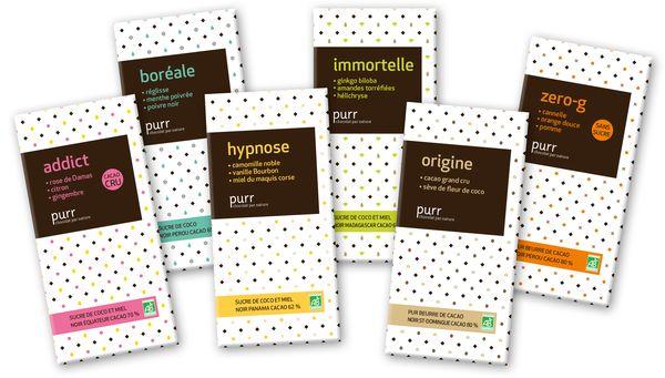 LEs 6 tablettes de chocolat aux huiles essentielles de Purr Chocolat©