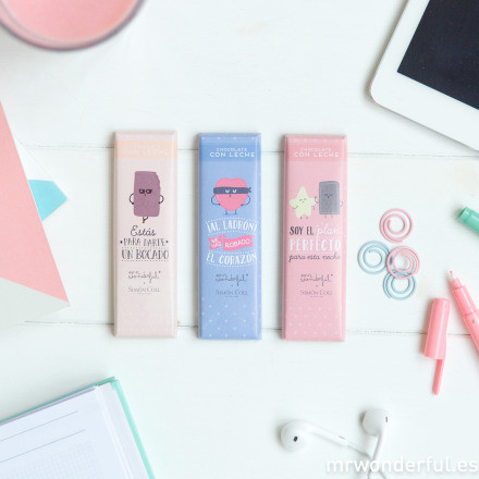 Assortiment de 3 barres de chocolat par Simon Coll pour Mr. Wonderful©