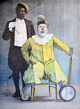 Duo de clowns Foottit et Chocolat, illustration couleur de René Vincent, c.1900©