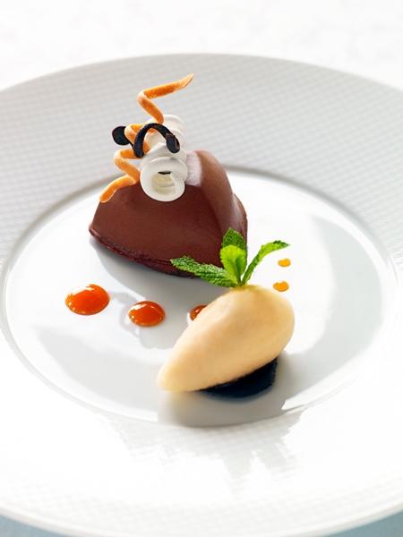 Le Frisson au Chocolat Kalingo, sorbet pomelo par Alain Roux©