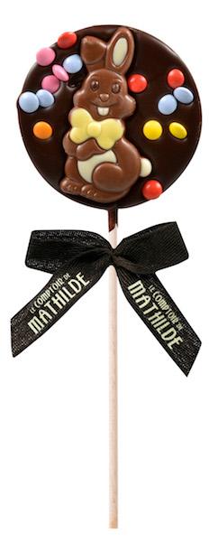 Sucette Lapin au chocolat noir par Le Comptoir de Mathilde©