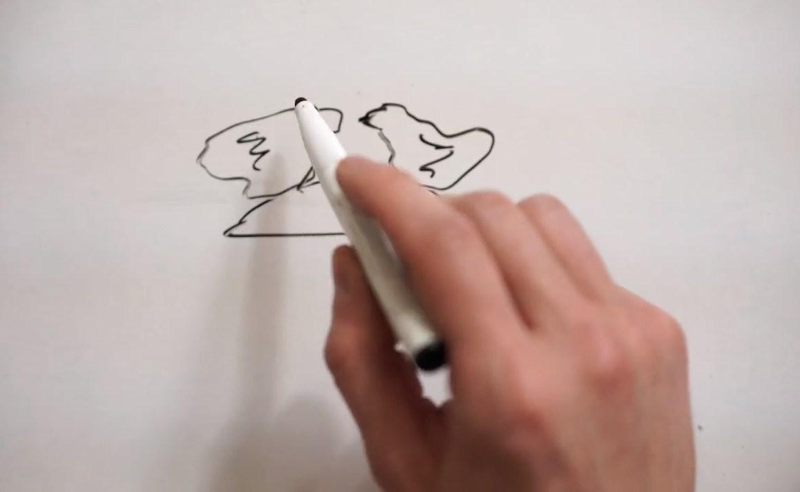 Préparation du moulage avec dessin de 2 poules amoureuses©ChocoClic.com