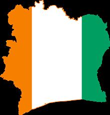 Drapeau et carte de la Côte d'Ivoire©