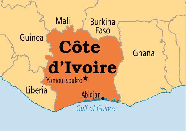 Carte de la Côte d'Ivoire©