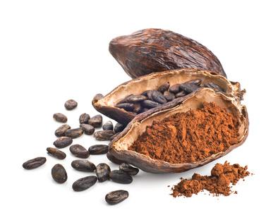 Fèves et poudres de cacao dans une cabosse©