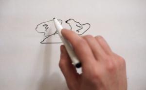 Préparation du moulage avec dessin de 2 poules amoureuses