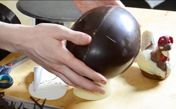 Le montage Complet d'une poule sur un méga œuf