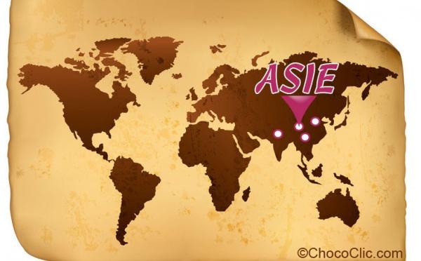 La provenance des fèves de cacao d'Asie