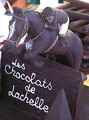 Saut d'obstacle à cheval en chocolat