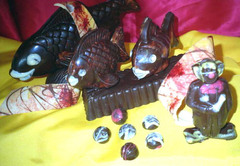 Poisson et clown en chocolat